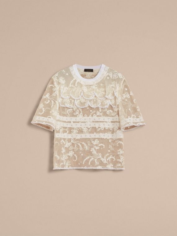 Tiered Soutache Lace T-shirt in White - Men | Burberry - cell image 3