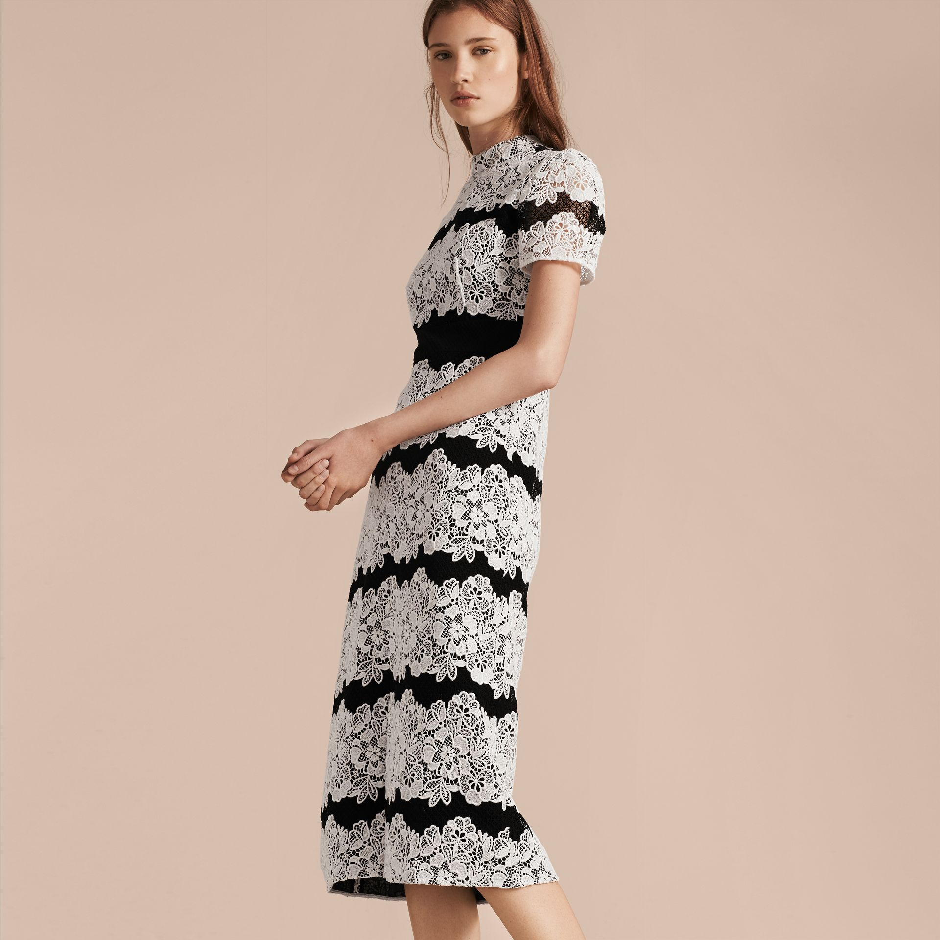 Black/white Mesh and Macramé Lace Shift Dress - gallery image 7