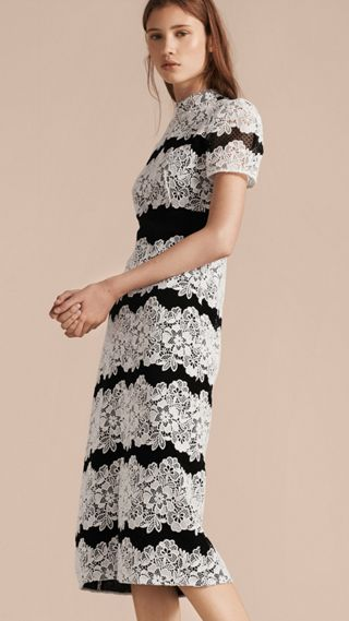 Mesh and Macramé Lace Shift Dress