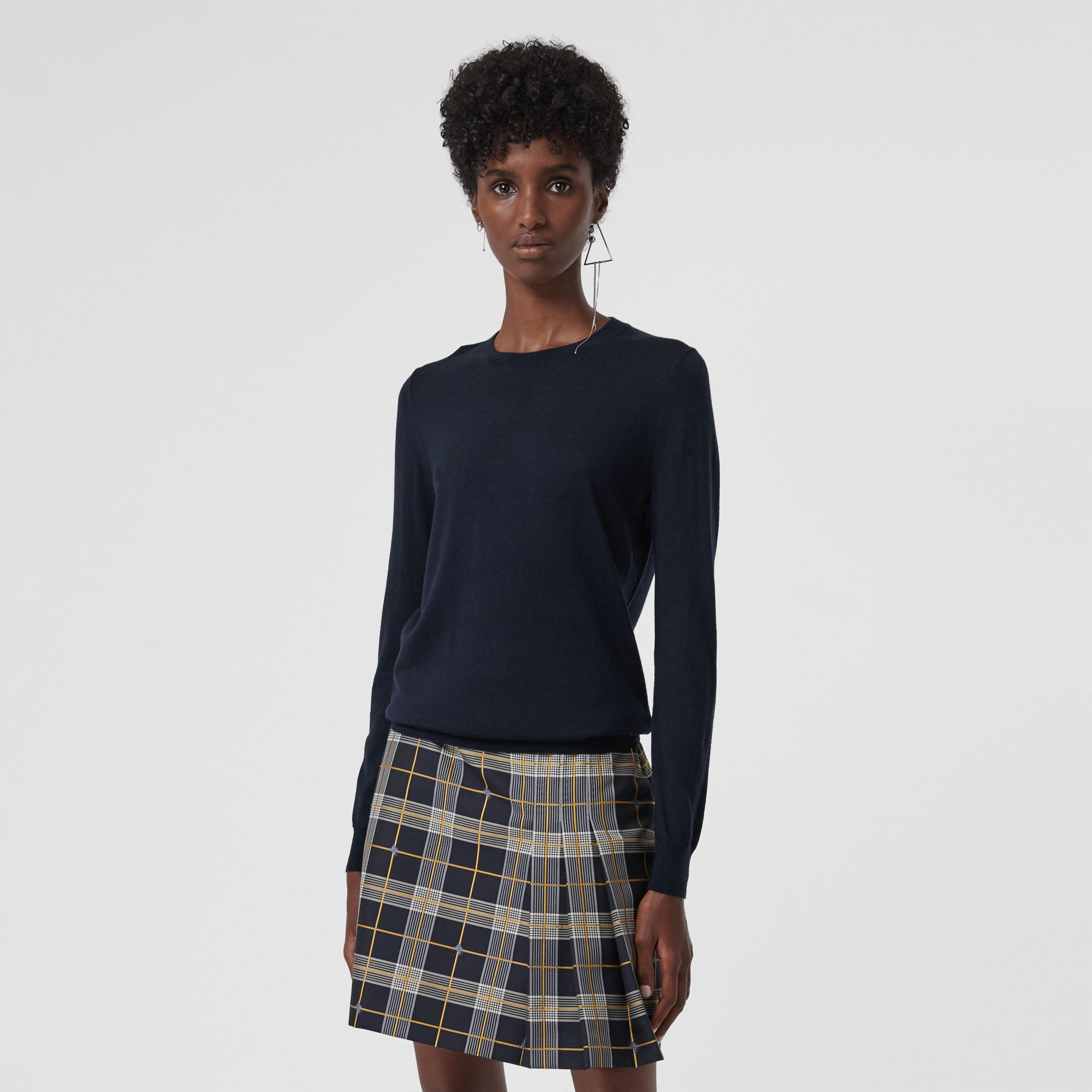 Check Detail Merino Wool Sweater in Navy - Women | Burberry - gallery image 4