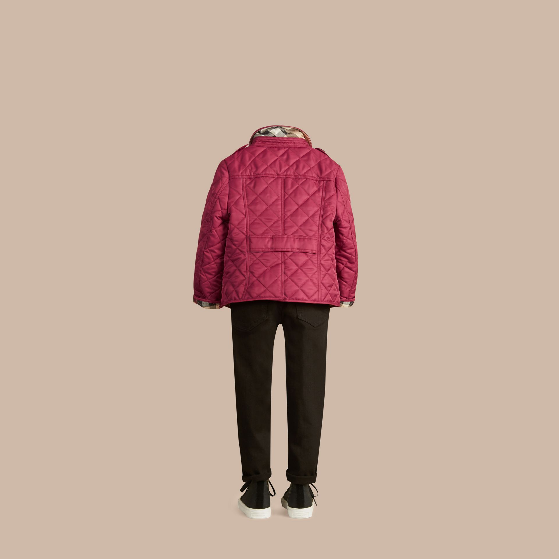 Check Lined Diamond Quilted Jacket in Fritillary Pink - Girl | Burberry - gallery image 4