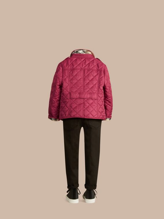Check Lined Diamond Quilted Jacket in Fritillary Pink - Girl | Burberry - cell image 3