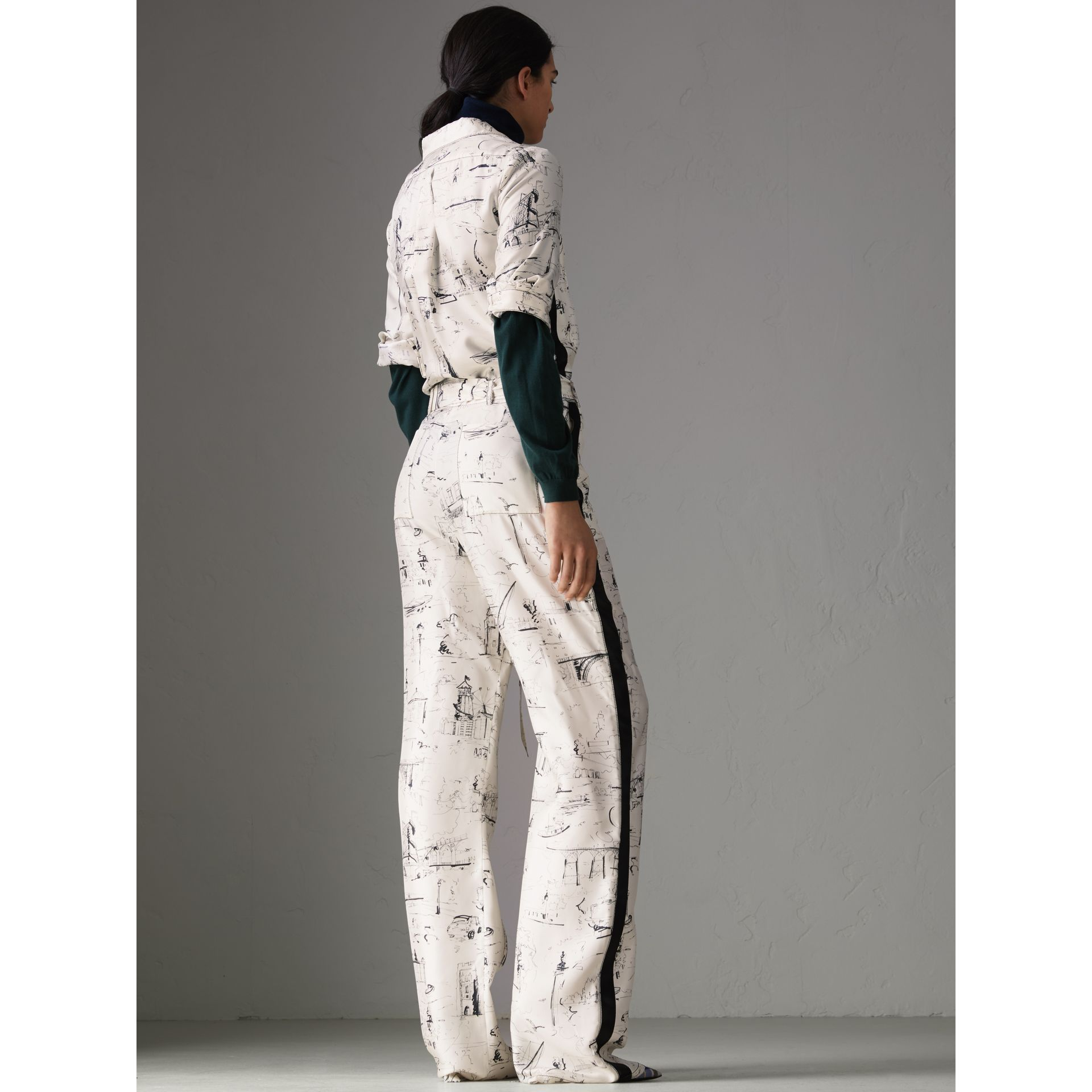 Landmark Print Silk Jumpsuit in Off White/black - Women | Burberry - gallery image 2