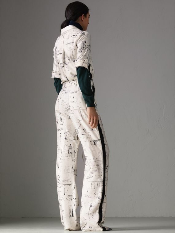 Landmark Print Silk Jumpsuit in Off White/black - Women | Burberry - cell image 2