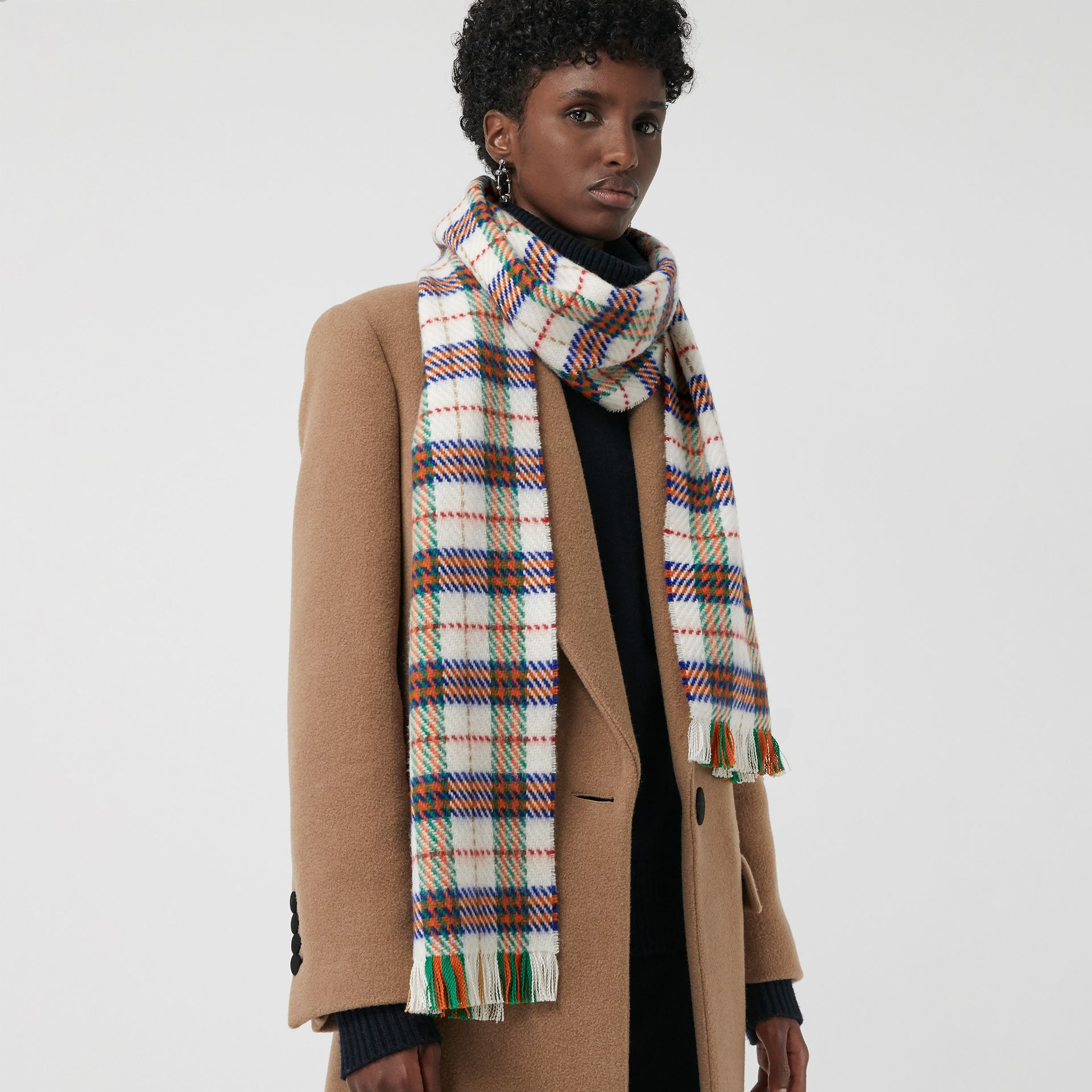 Check Merino Wool Scarf in Natural White | Burberry Singapore - gallery image 4