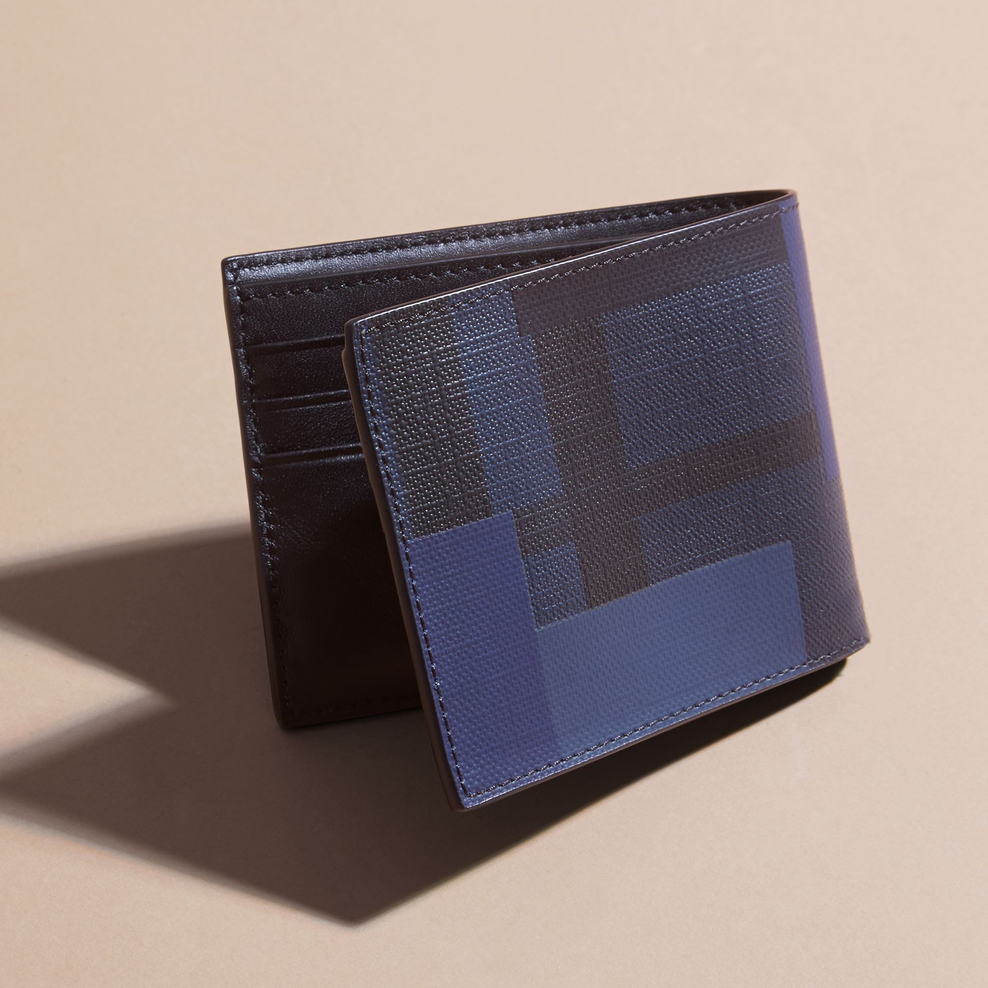 Navy/geometric Colour Block London Check Folding Wallet - gallery image 4