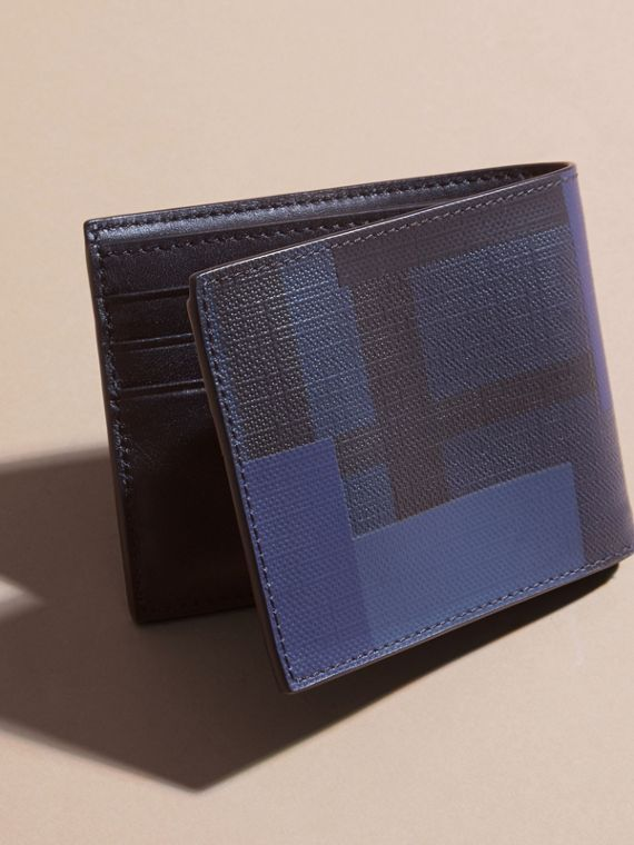 Navy/geometric Colour Block London Check Folding Wallet - cell image 3