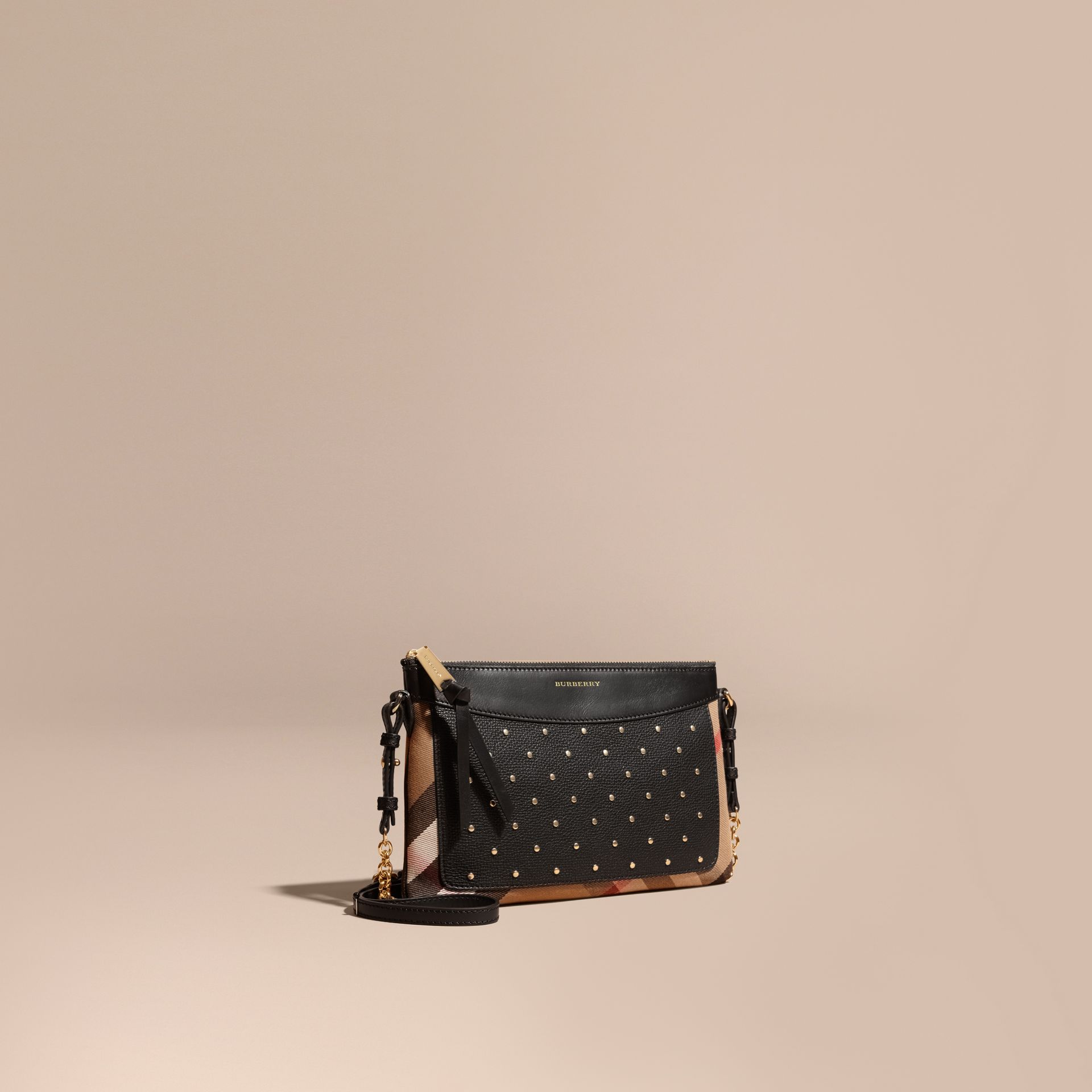 Riveted Leather and House Check Clutch Bag in Black - gallery image 1