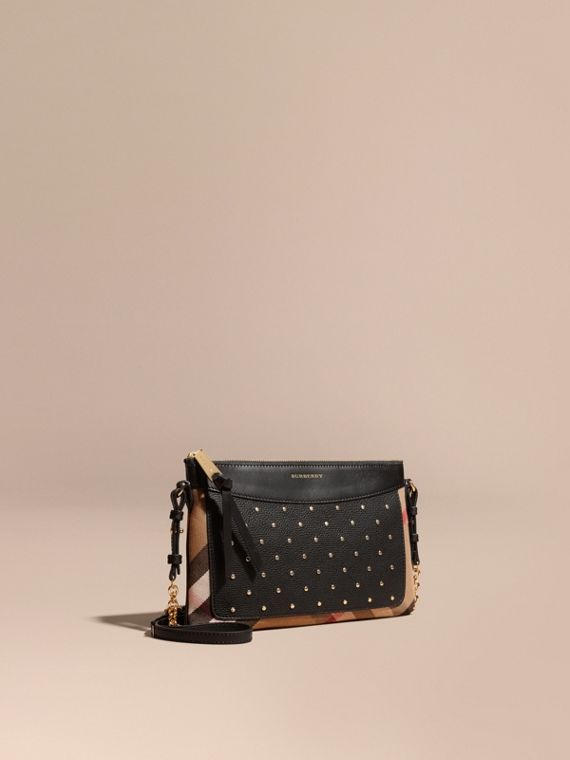 Riveted Leather and House Check Clutch Bag Black