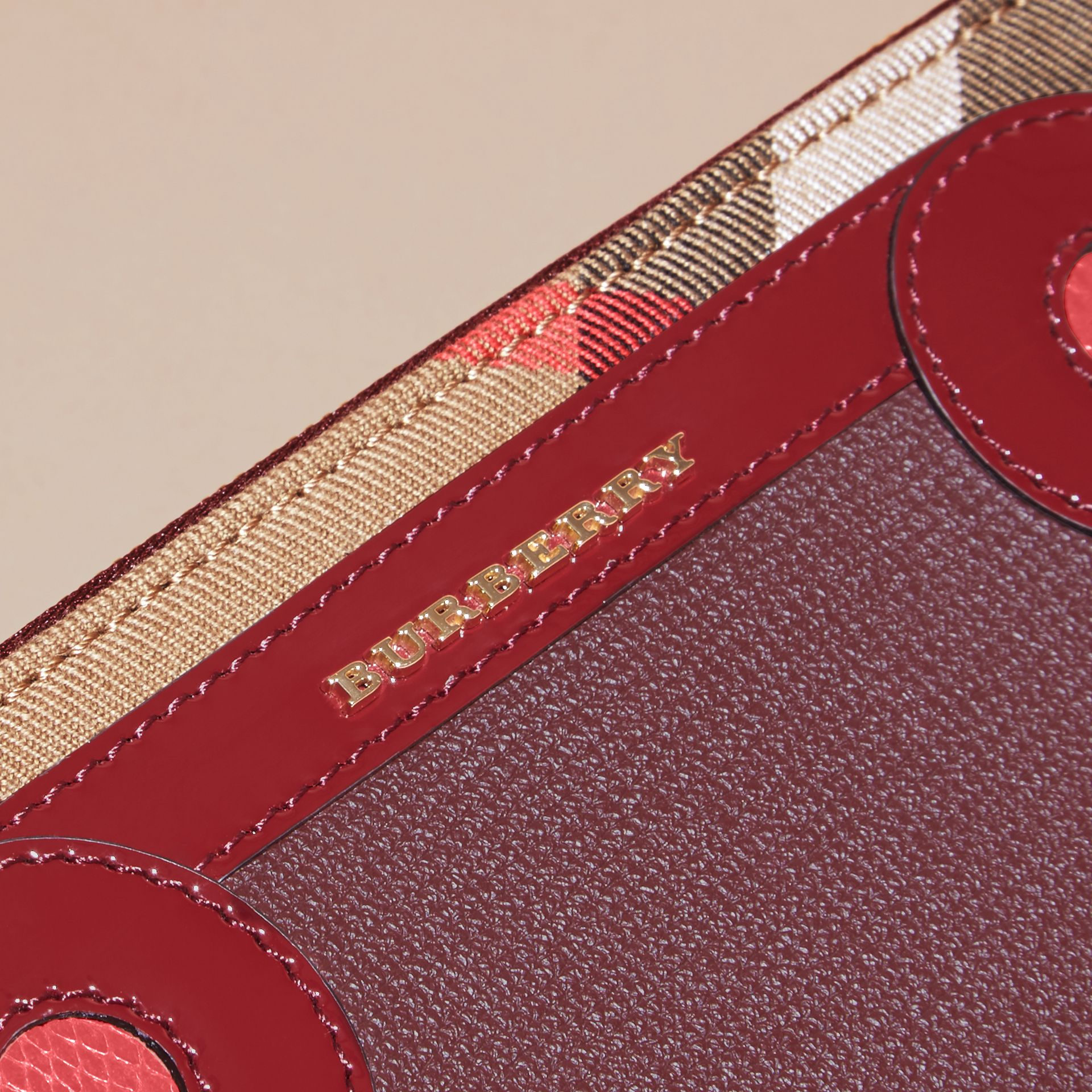 Snakeskin and House Check Ziparound Wallet in Mahogany Red - gallery image 2