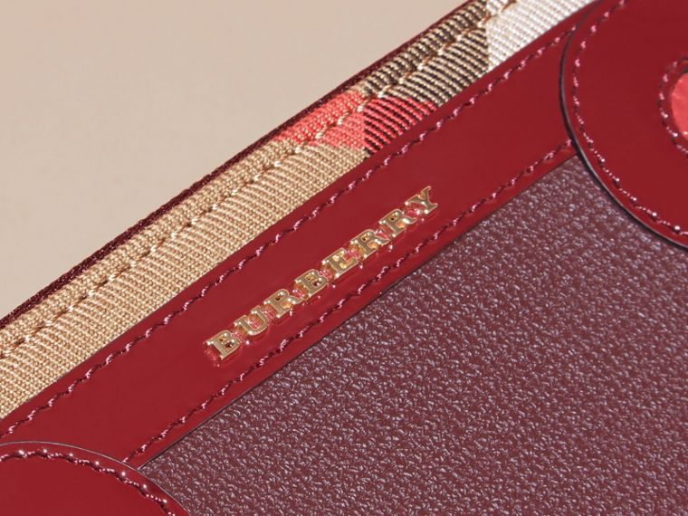 Snakeskin and House Check Ziparound Wallet in Mahogany Red - cell image 1