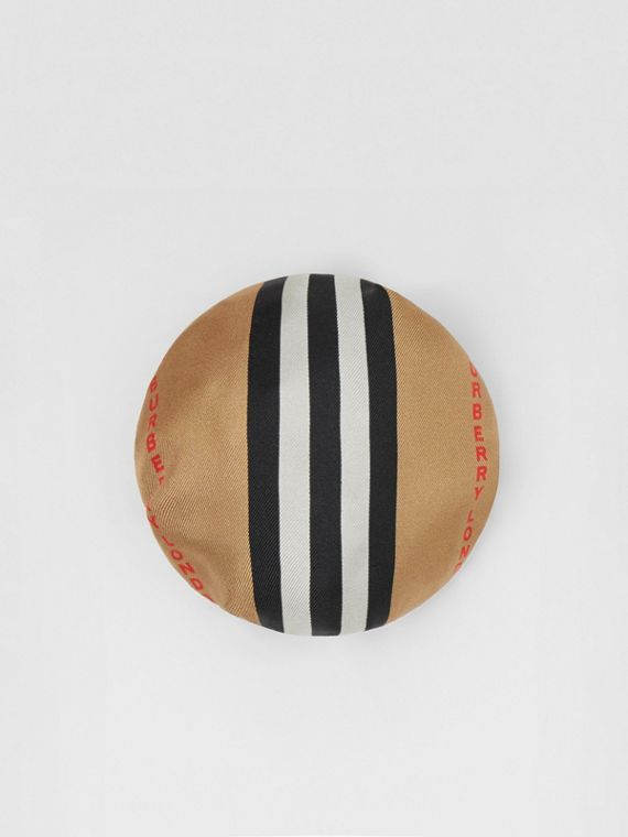 Icon Stripe Silk Chignon Cover in Beige