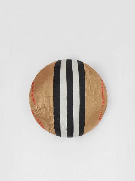 標誌性條紋絲質髮髻套 (米色)