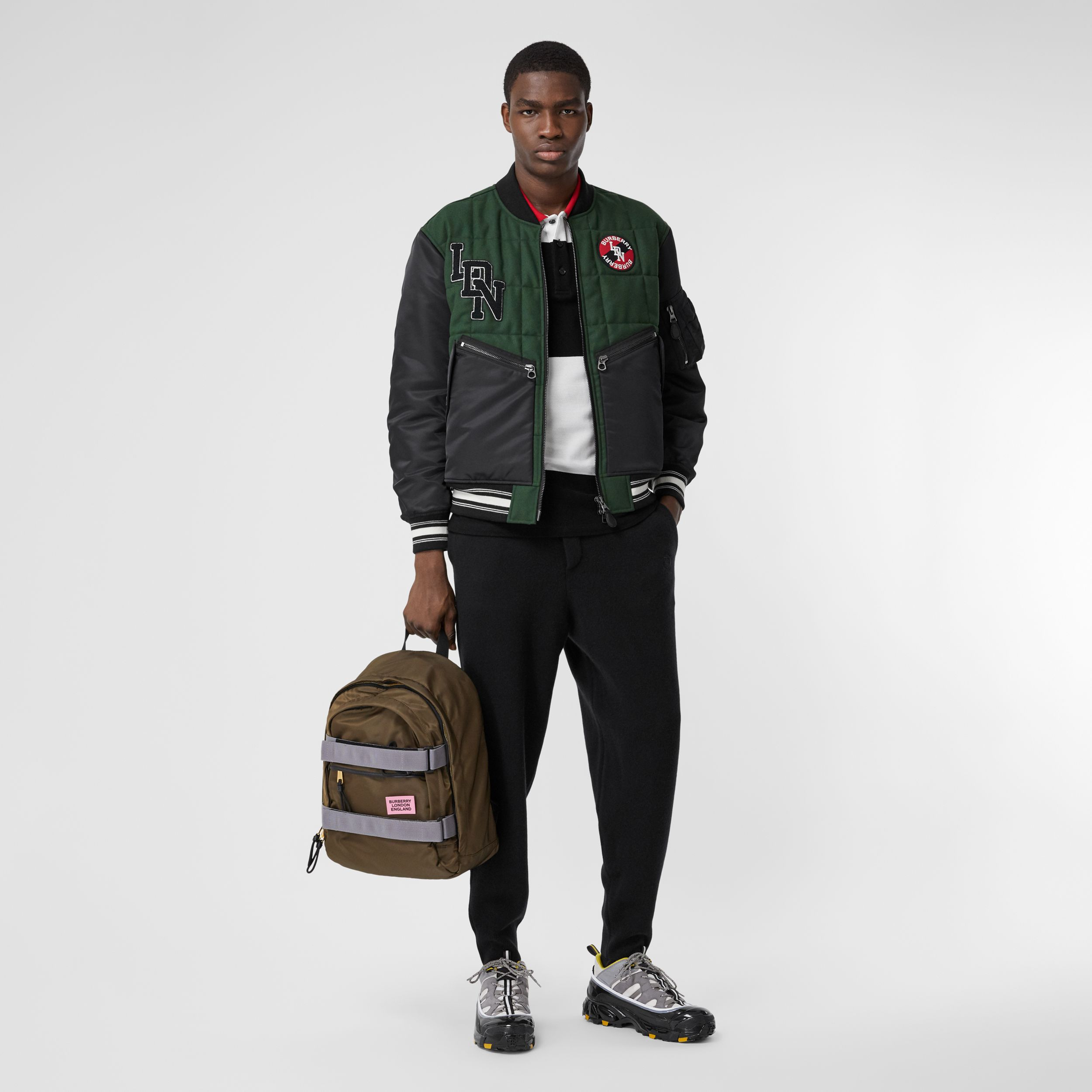 Contrast Sleeve Logo Graphic Wool Bomber Jacket in Dark Pine Green - Men | Burberry - 1