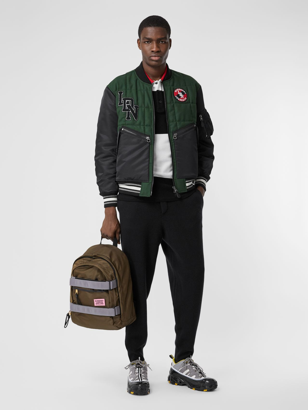 Contrast Sleeve Logo Graphic Wool Bomber Jacket (Dark Pine Green)