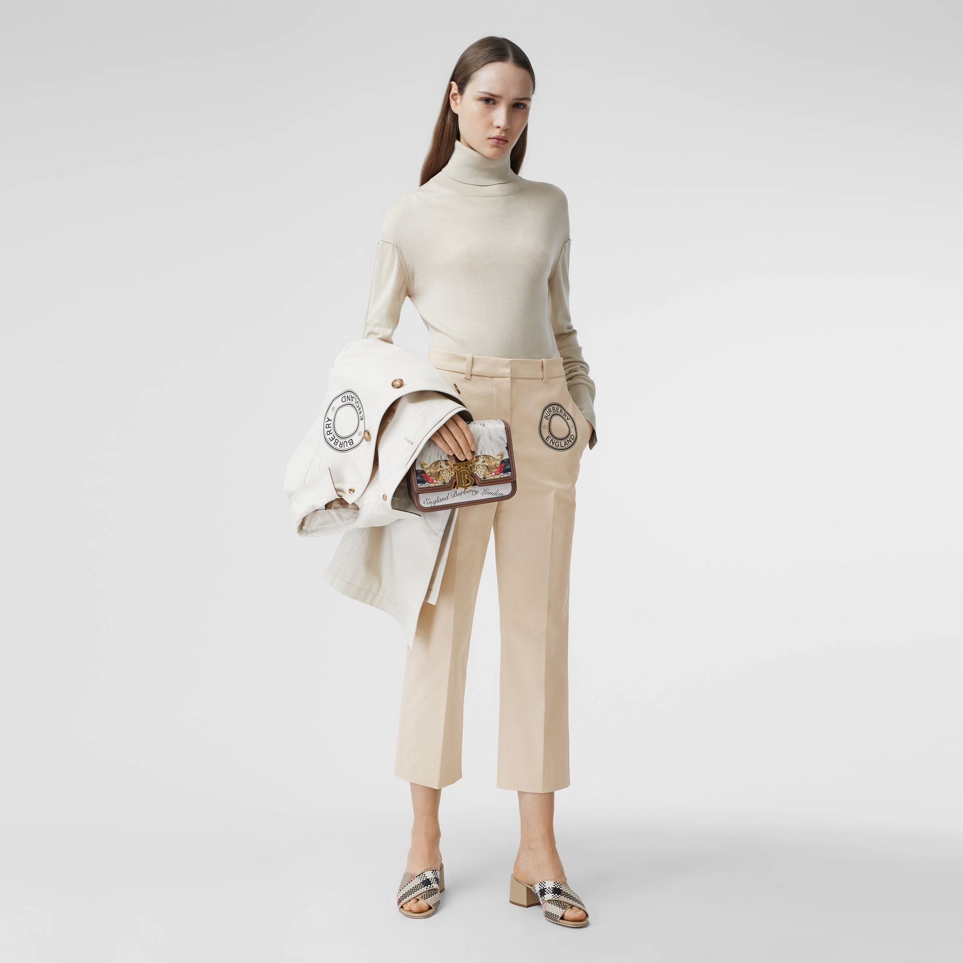 Logo Graphic Stretch Cotton Canvas Tailored Trousers in Pale Cream - Women | Burberry Hong Kong S.A.R - gallery image 4