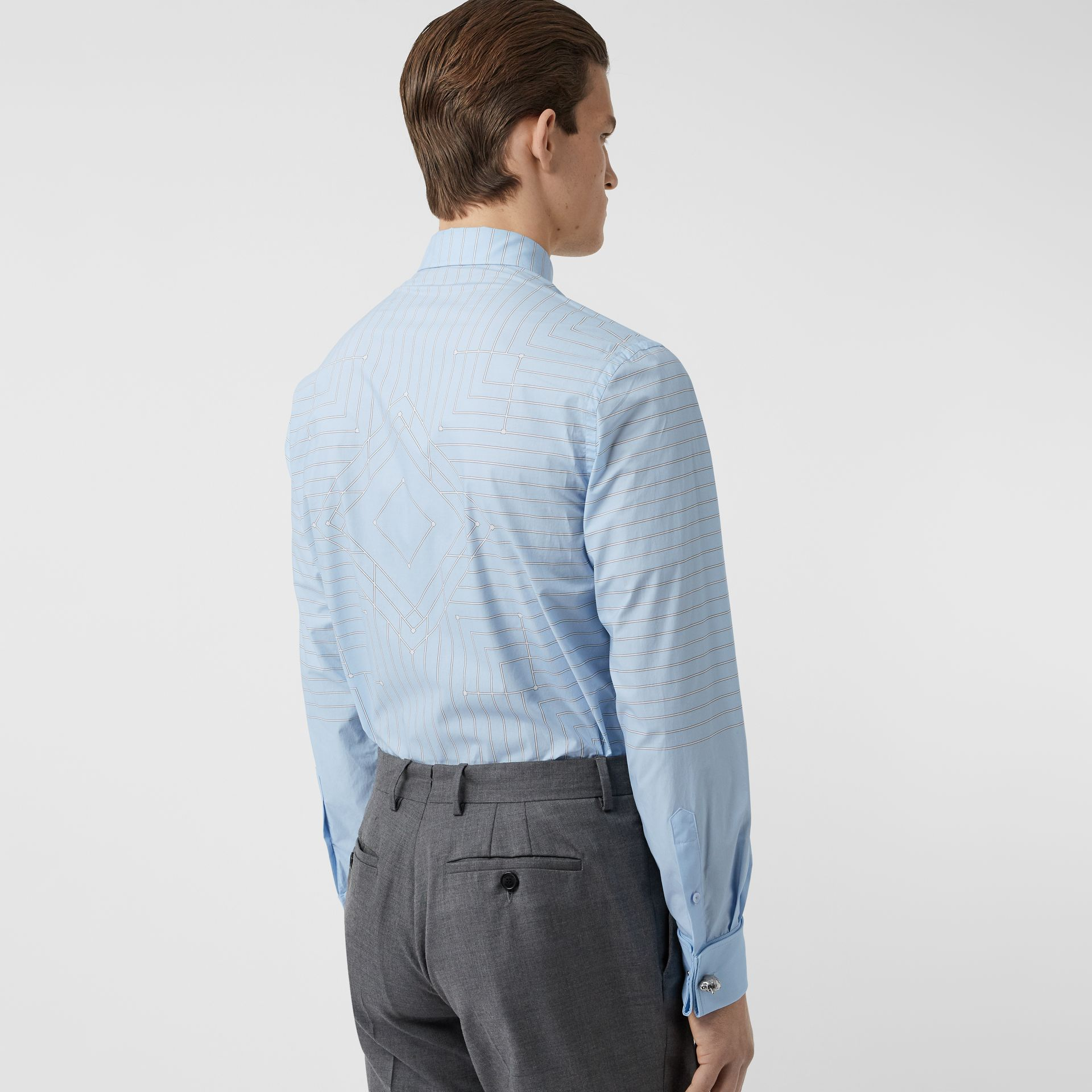 Button-down Collar Geometric Print Cotton Shirt in Pale Blue | Burberry - gallery image 2