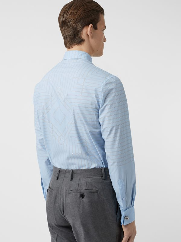 Button-down Collar Geometric Print Cotton Shirt in Pale Blue | Burberry - cell image 2