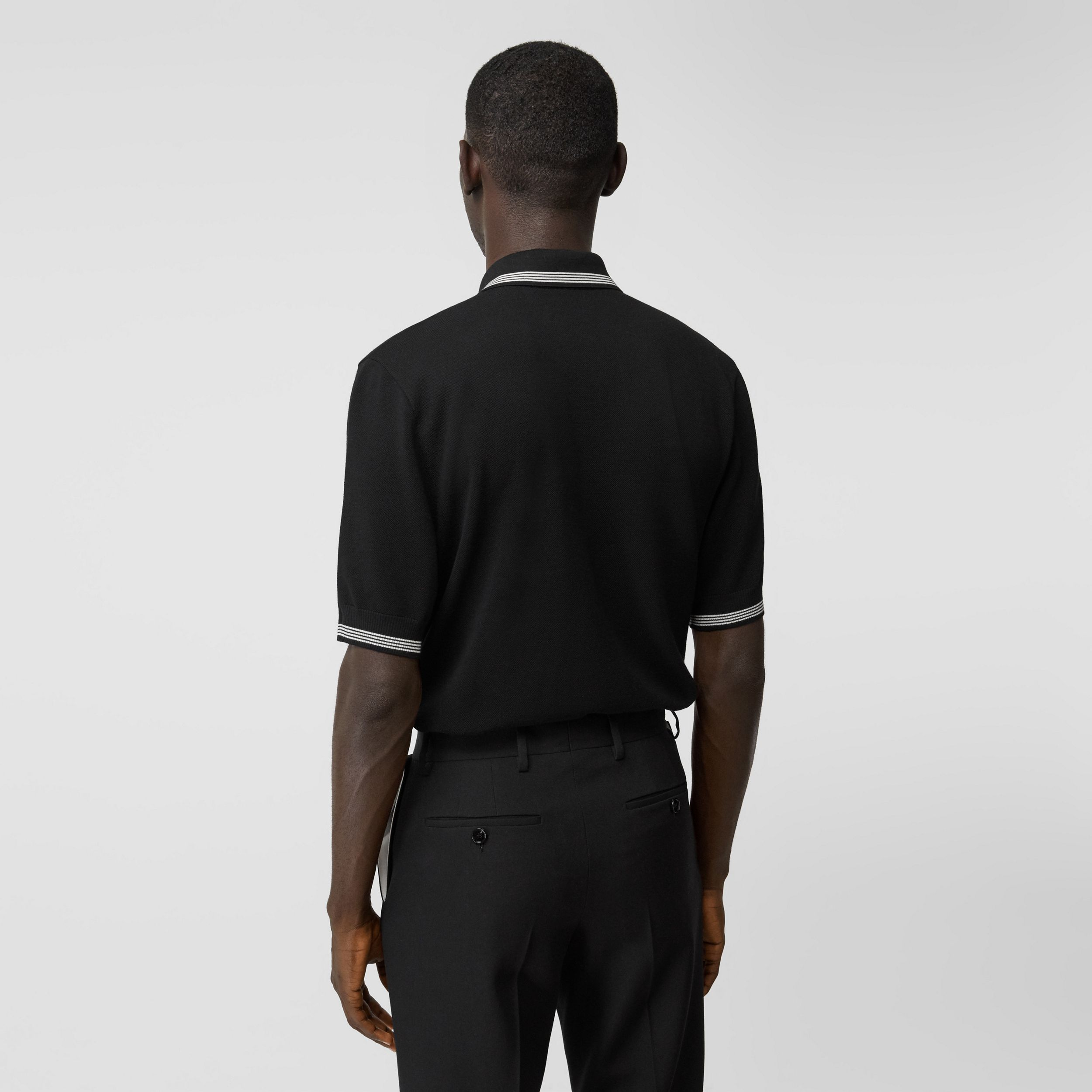 Logo Embroidered Wool Polo Shirt in Black - Men | Burberry Australia - 3