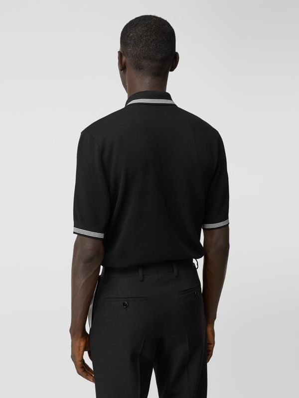 Logo Embroidered Wool Polo Shirt in Black | Burberry - cell image 2