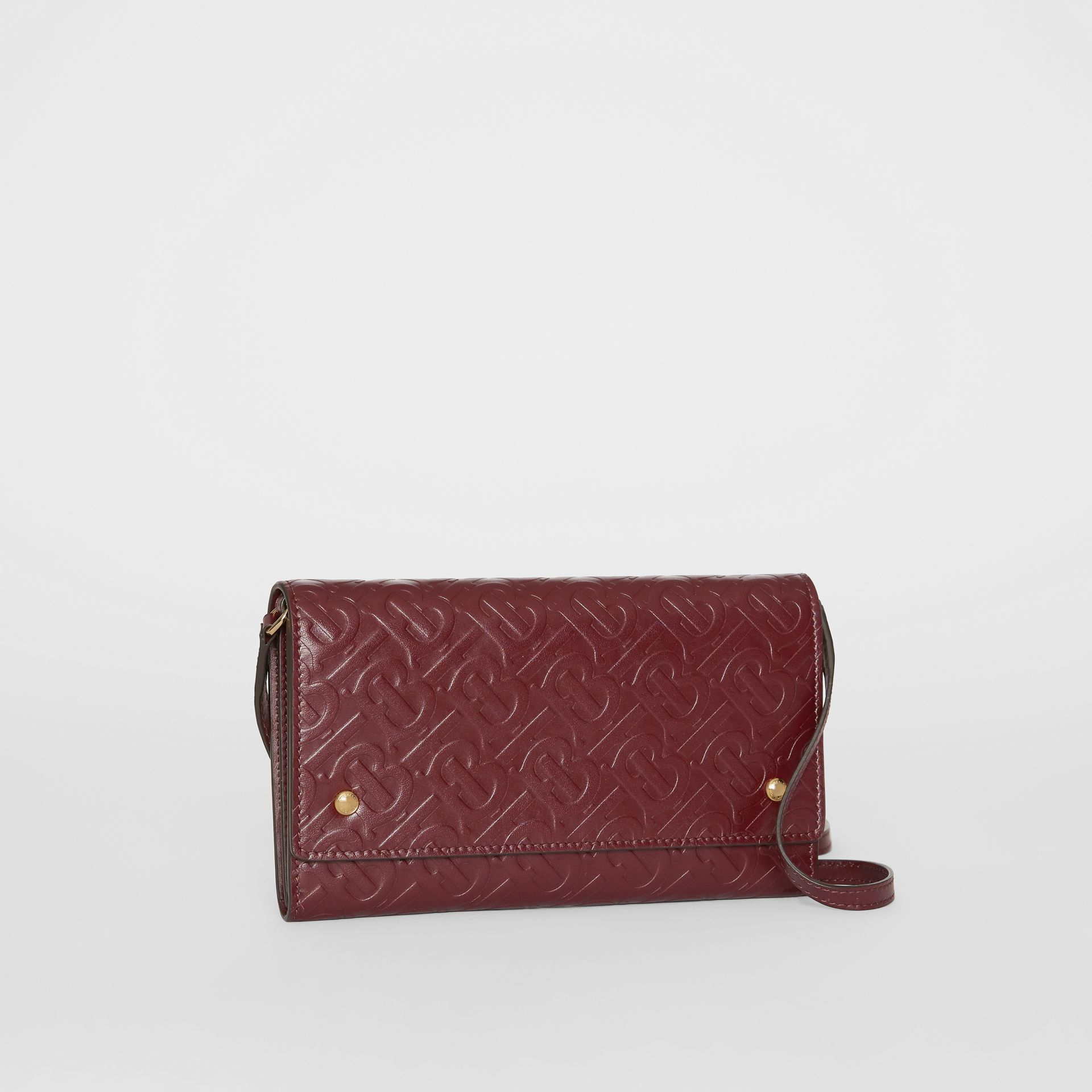 Monogram Leather Wallet with Detachable Strap in Oxblood - Women | Burberry - gallery image 6