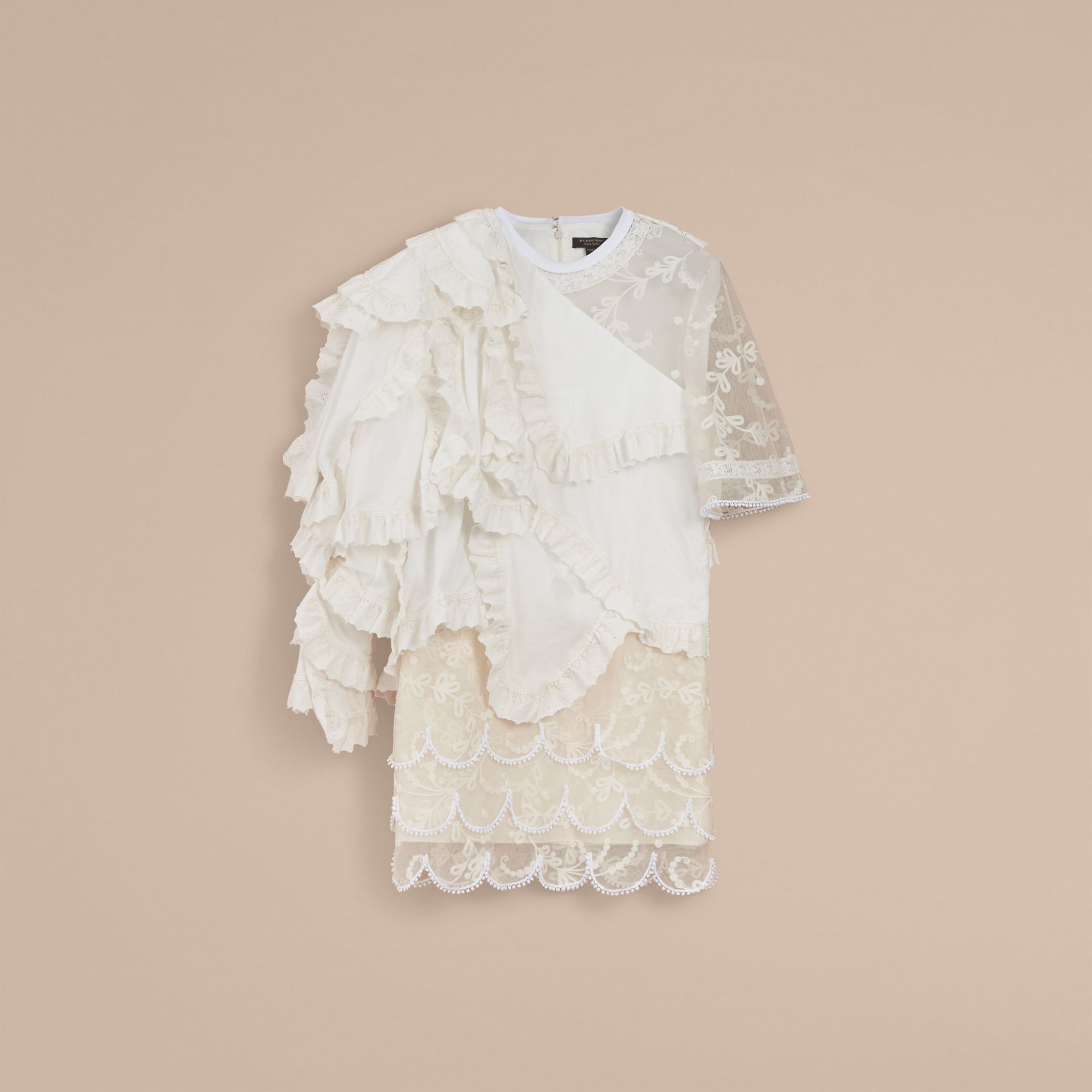 Broderie Anglaise Ruffle Cotton and Lace Dress - Women | Burberry - gallery image 4