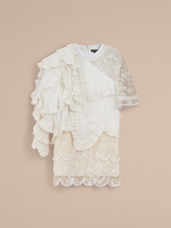 Broderie Anglaise Ruffle Cotton and Lace Dress - cell image 3