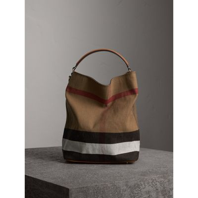 5ae6c2d51763 BURBERRY. THE MEDIUM ASHBY IN CANVAS CHECK AND LEATHER