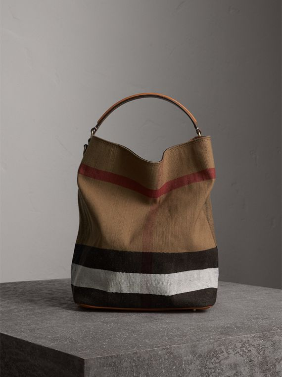 The Medium Ashby in Canvas Check and Leather in Saddle Brown - Women | Burberry Canada