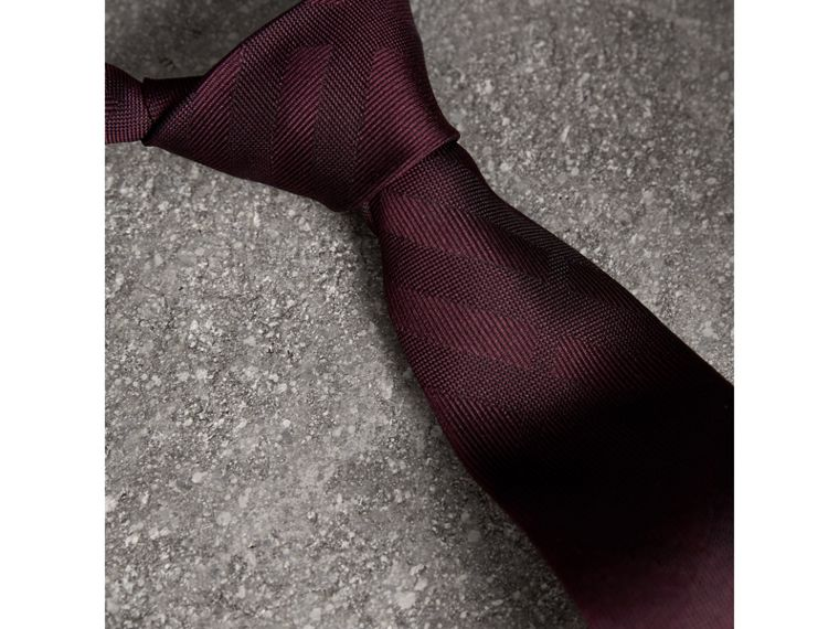 Slim Cut Check Silk Tie in Deep Claret - Men | Burberry - cell image 1