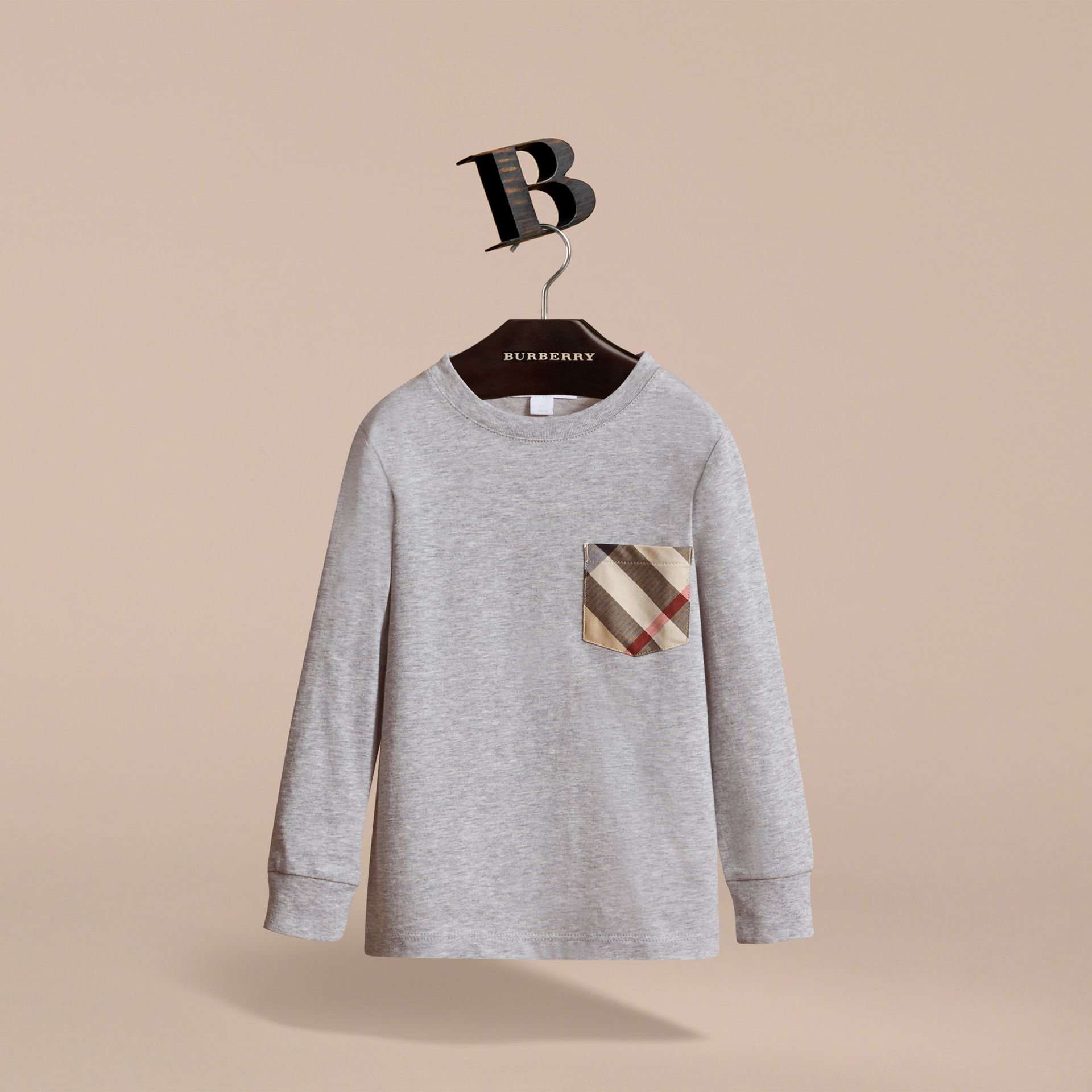 Long-sleeve Check Pocket Cotton T-shirt in Grey Melange - Boy | Burberry - gallery image 3