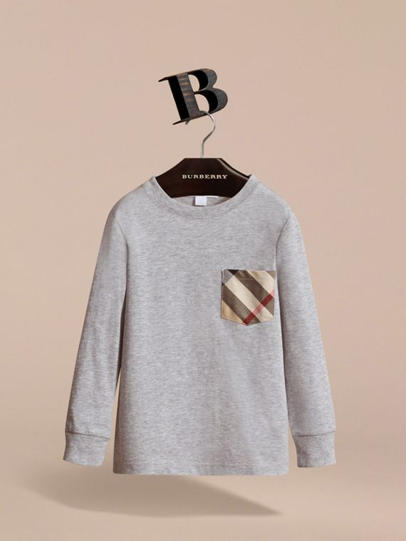 Long-sleeve Check Pocket Cotton T-shirt in Grey Melange - Boy | Burberry - cell image 2