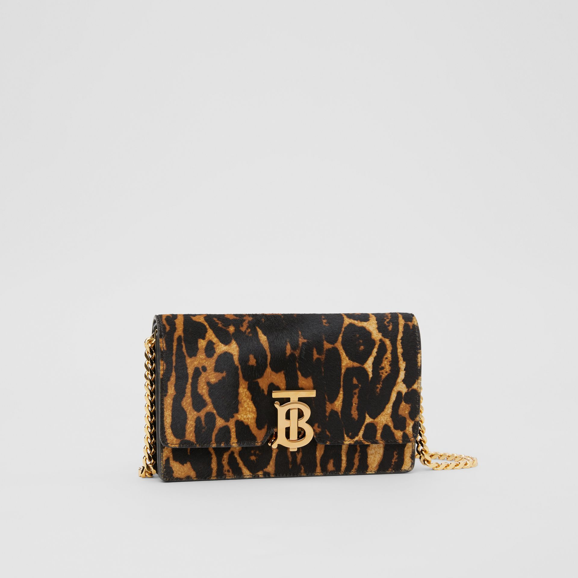Small Leopard Print Calf Hair Shoulder Bag in Dark Mustard - Women | Burberry United Kingdom - gallery image 6