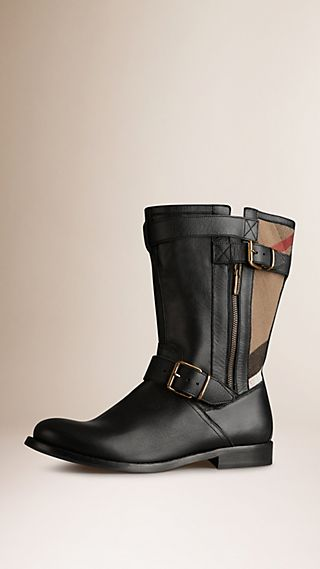 Check Detail Belted Leather Boots