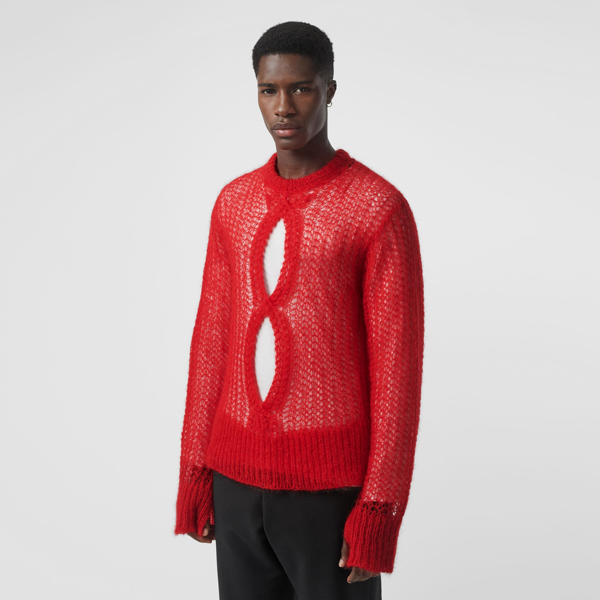 Open Knit Mohair Wool Blend Sweater in Bright Red - Men | Burberry - gallery image 0