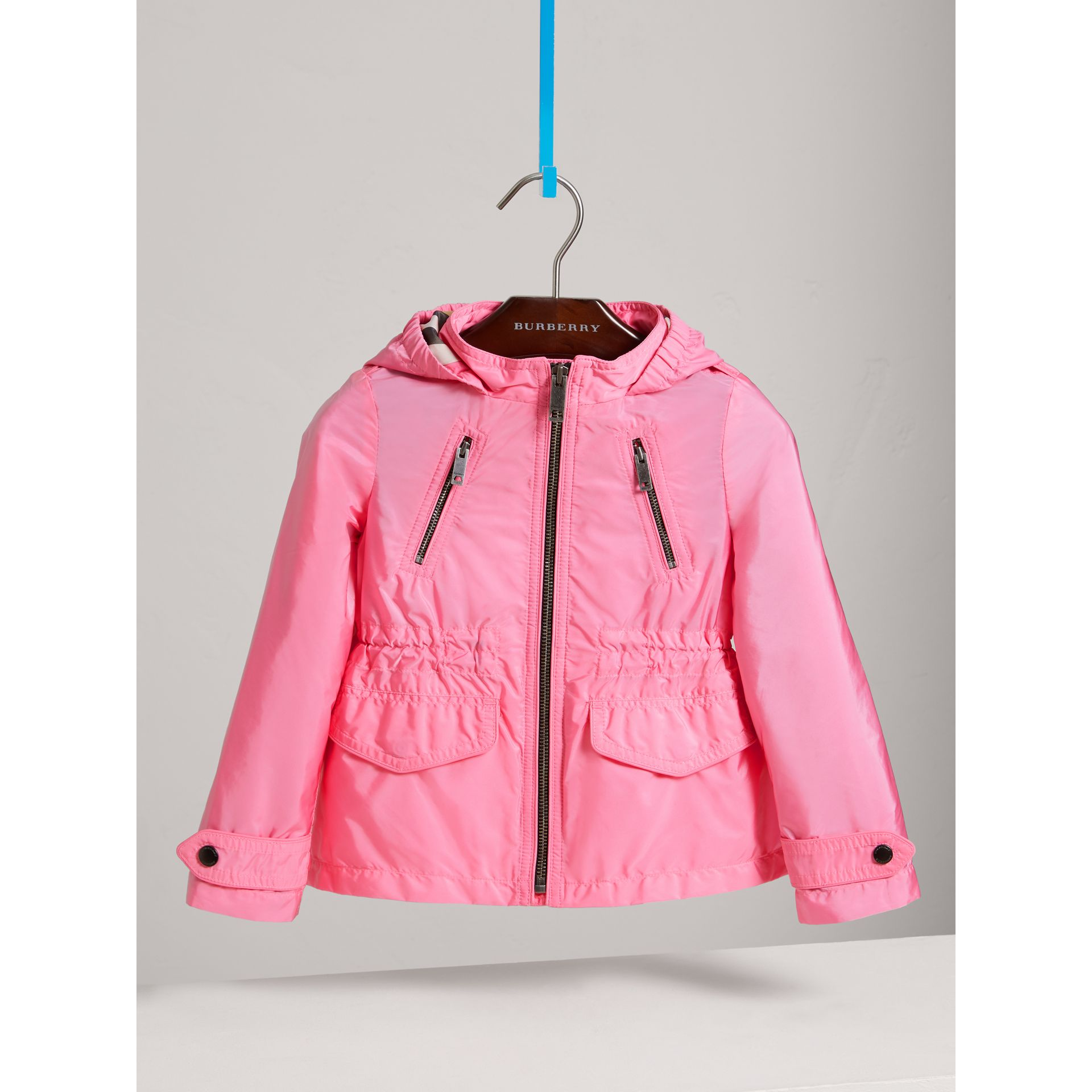 Hooded Packaway Technical Jacket in Peony - Girl | Burberry - gallery image 0