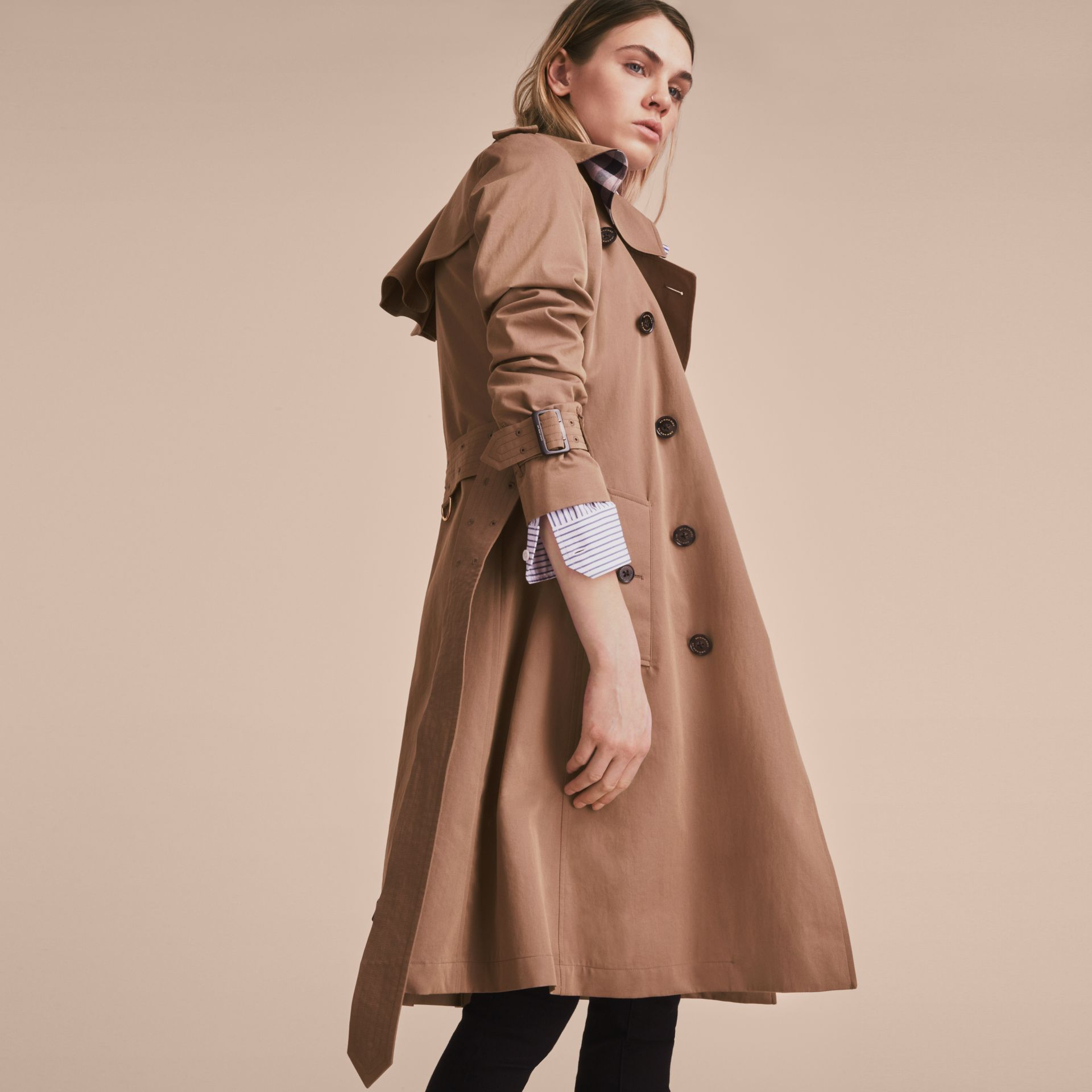 Tropical Gabardine Trench Coat with Ruffle Detail Taupe - gallery image 7