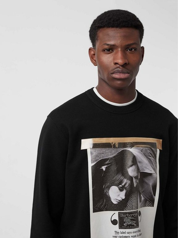 Archive Campaign Print Cotton Sweatshirt in Black - Men | Burberry United Kingdom - cell image 1