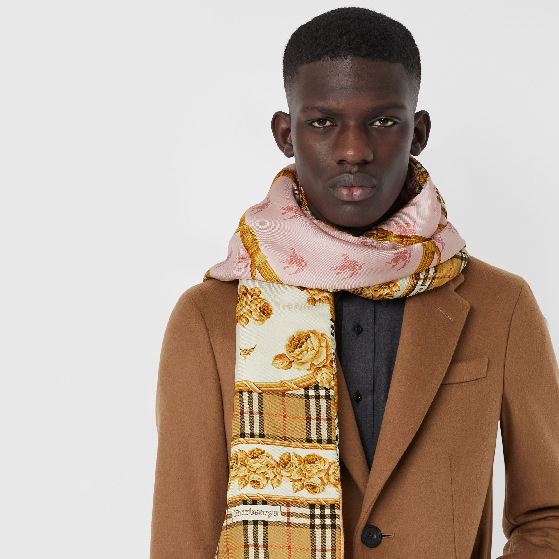 Archive Scarf Print Silk Puffer Scarf in Multicolour | Burberry - gallery image 6