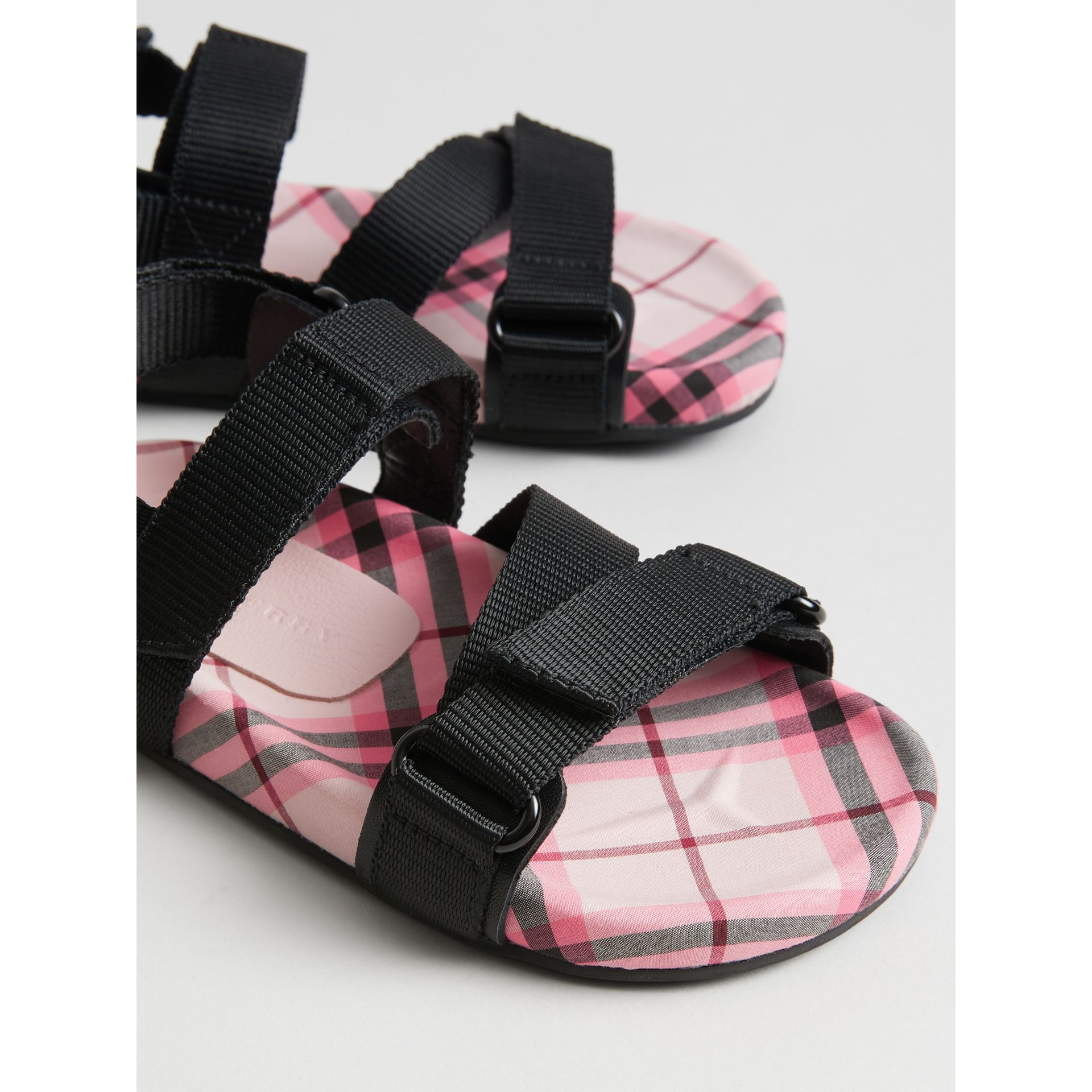 Ripstop Strap Check Cotton Sandals in Bright Rose | Burberry Singapore - gallery image 1