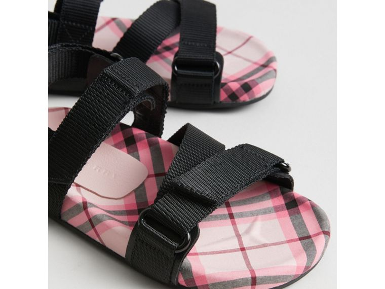 Ripstop Strap Check Cotton Sandals in Bright Rose | Burberry Singapore - cell image 1
