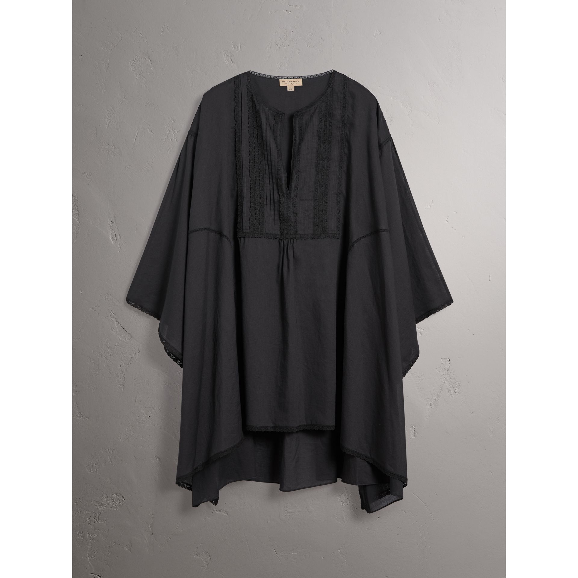Lace Detail Cotton Kaftan in Black - Women | Burberry - gallery image 1