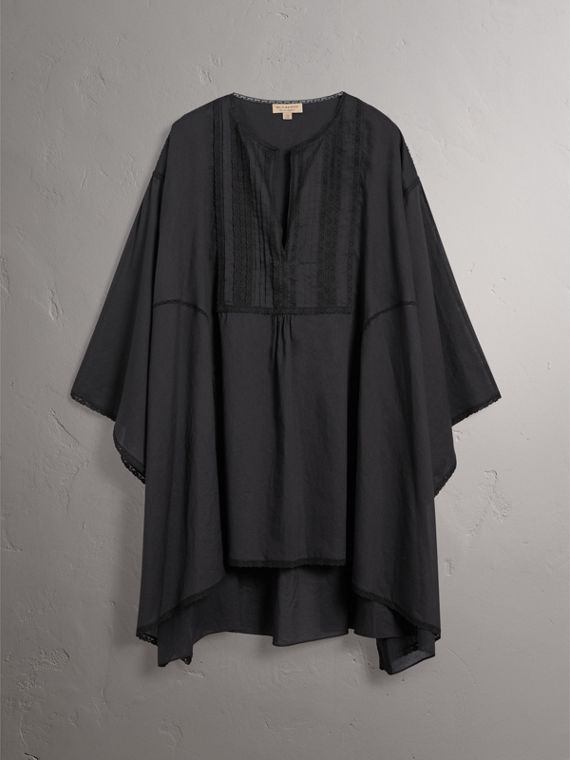 Lace Detail Cotton Kaftan in Black