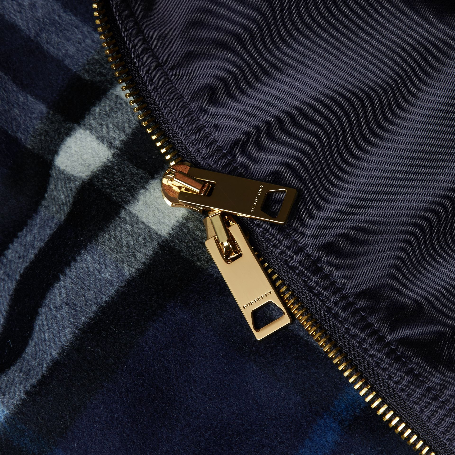 Satin Bomber Jacket with Check Undercollar Navy - gallery image 2