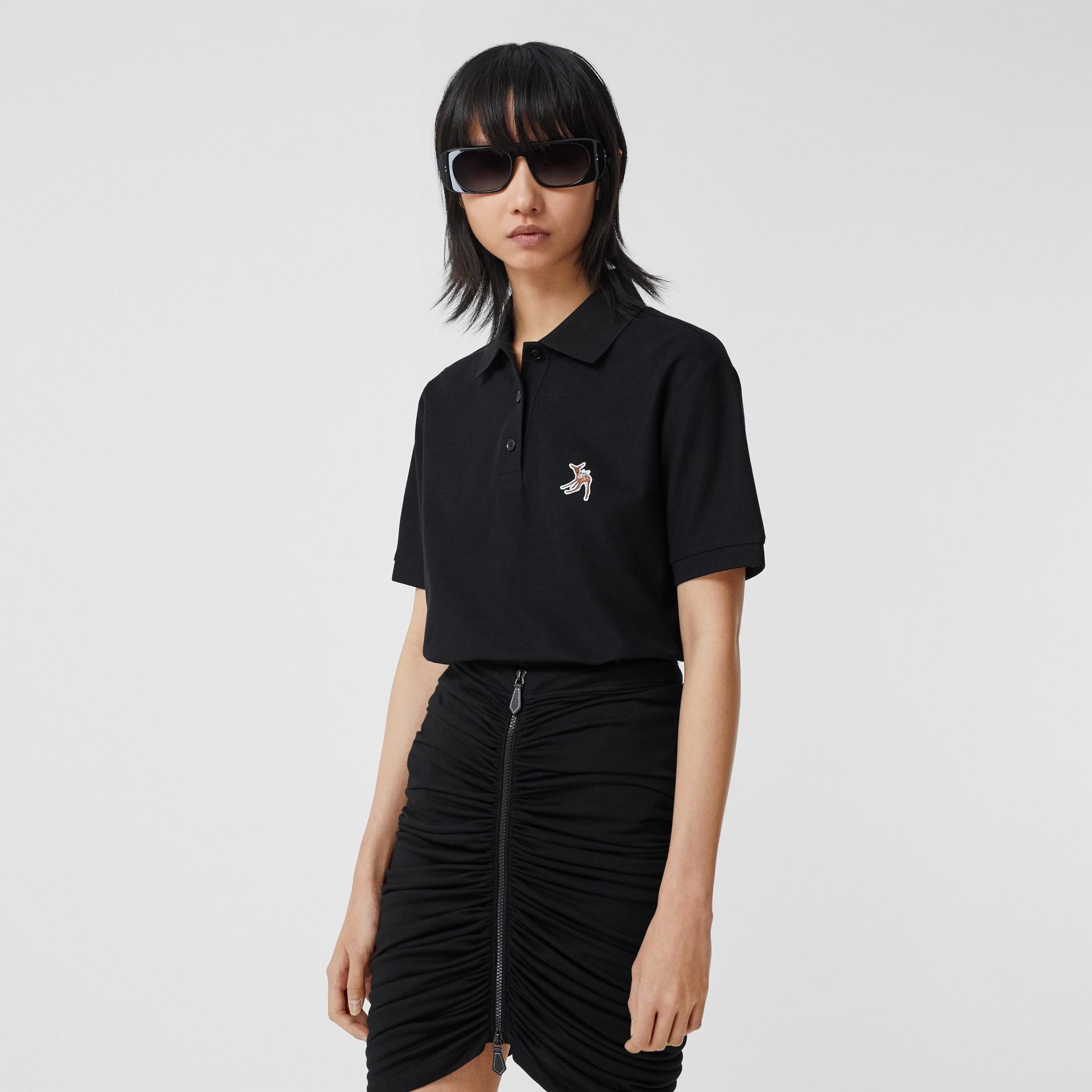Deer Motif Cotton Piqué Oversized Polo Shirt in Black - Women | Burberry - gallery image 4