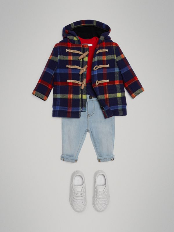 Check Double-faced Wool Duffle Coat in Navy - Children | Burberry - cell image 2