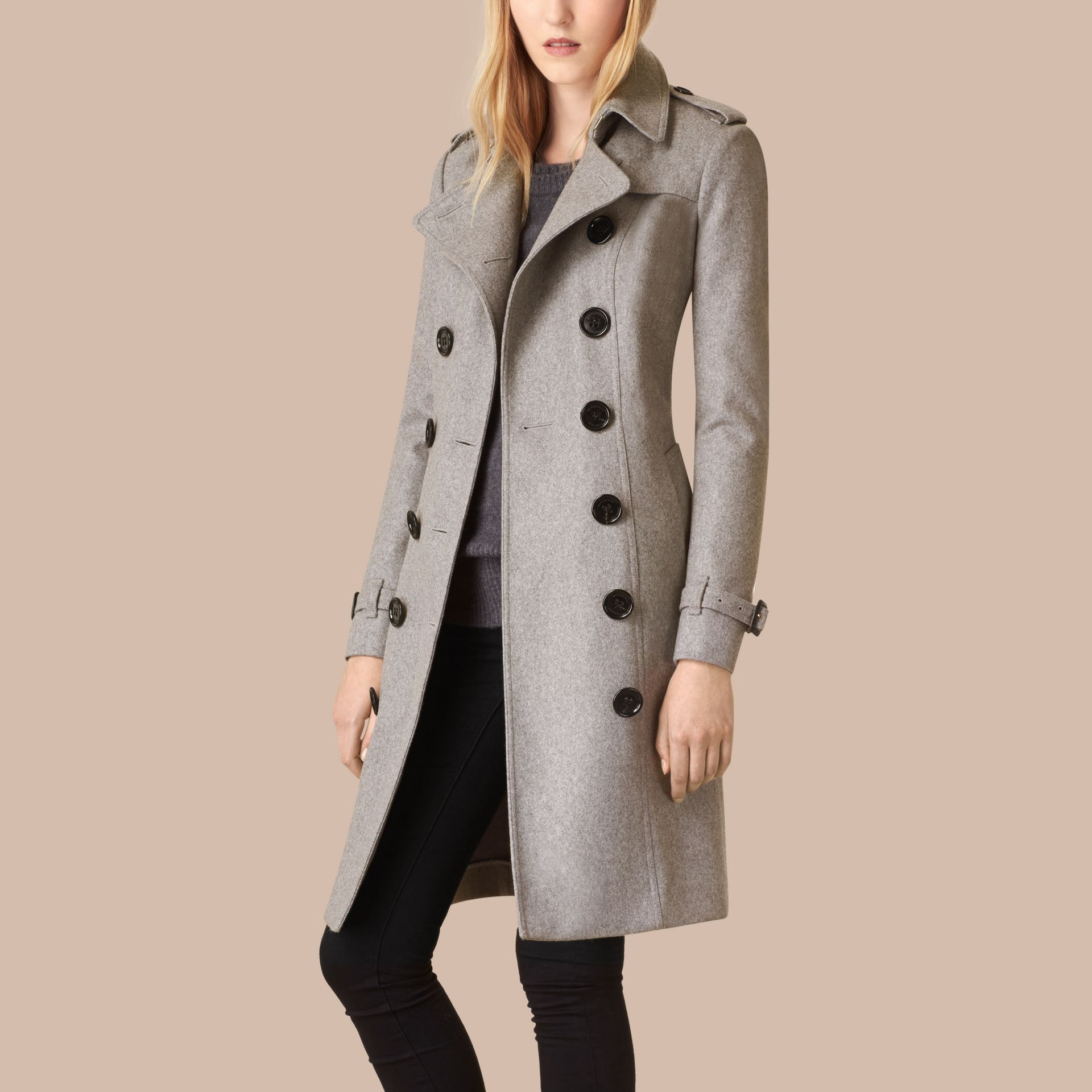Sandringham Fit Cashmere Trench Coat in Pale Grey - gallery image 4
