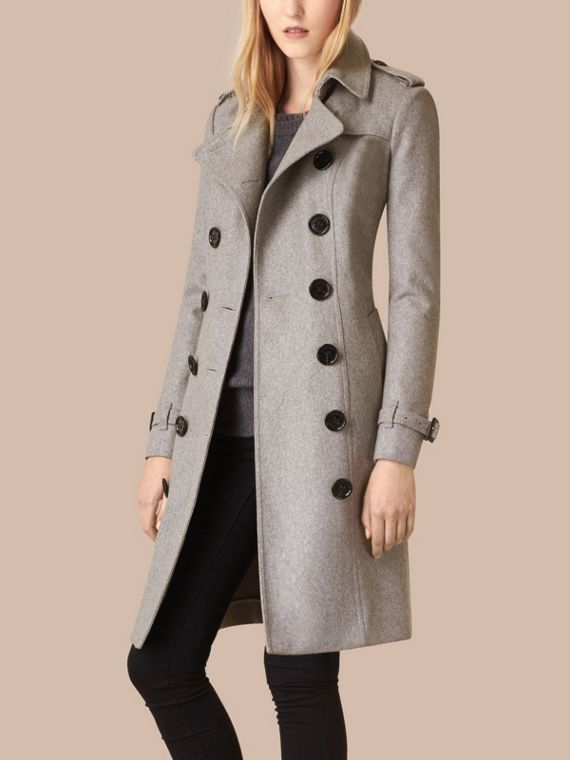 Sandringham Fit Cashmere Trench Coat in Pale Grey - cell image 3