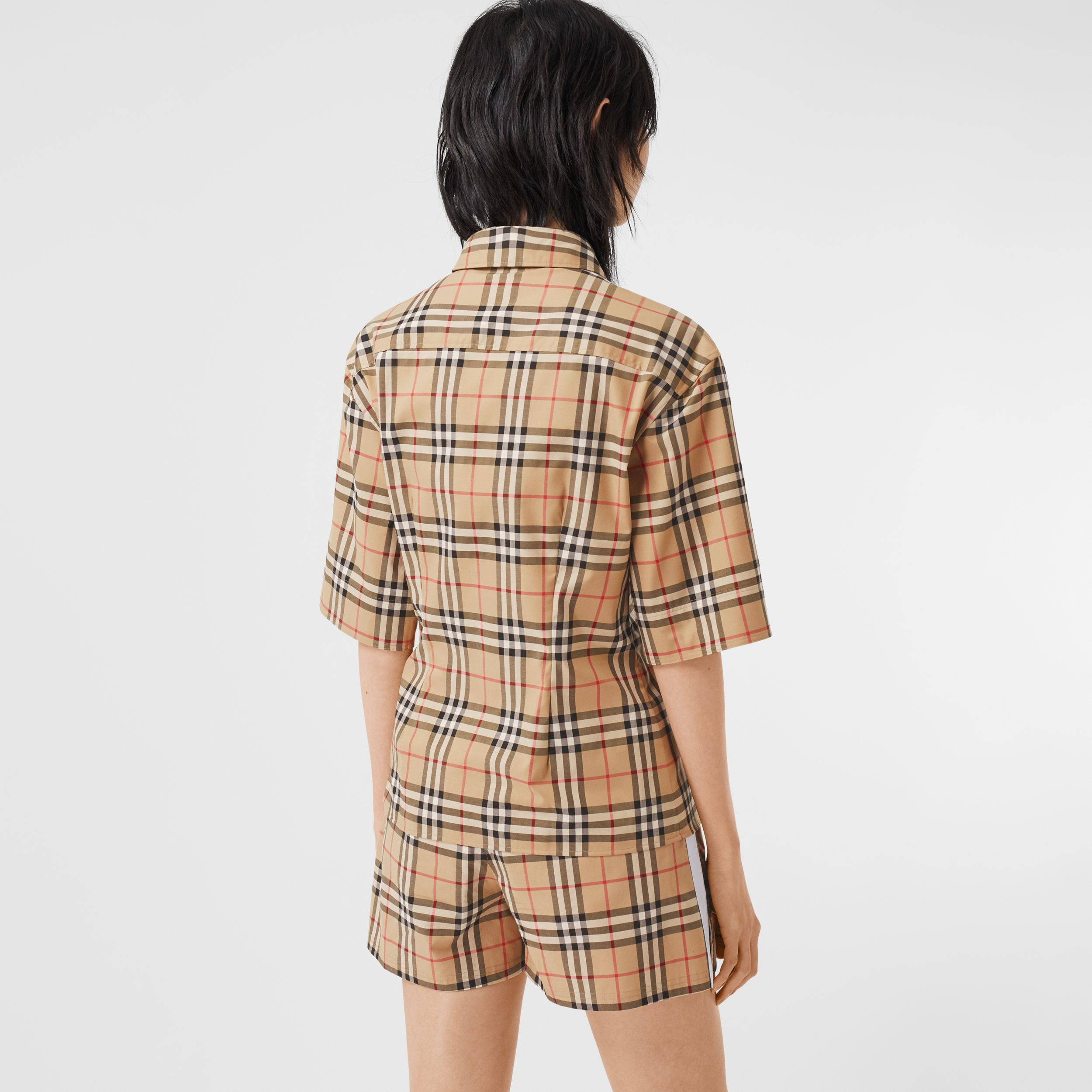 Short-sleeve Vintage Check Stretch Cotton Shirt in Archive Beige - Women | Burberry Australia - 3
