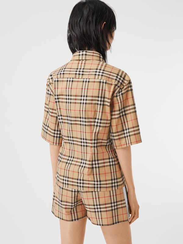 Short-sleeve Vintage Check Stretch Cotton Shirt in Archive Beige - Women | Burberry United Kingdom - cell image 2